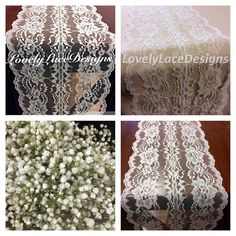 WEDDING DECOR Ivory Lace Table Runner /5ft-10ft x 7.5in Wide /Lace Table Overlay/Weddings/Ivory/ Etsy finds/Rustic Weddings/etsy trends by LovelyLaceDesigns on Etsy