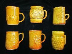 70's CROWN LYNN HONEY GLAZE COFFEE MUGS$60 Honey Glaze, Mugs For Sale, Coffee Mugs, Porcelain, Pottery, Crown, Dishes, Retro, Glass