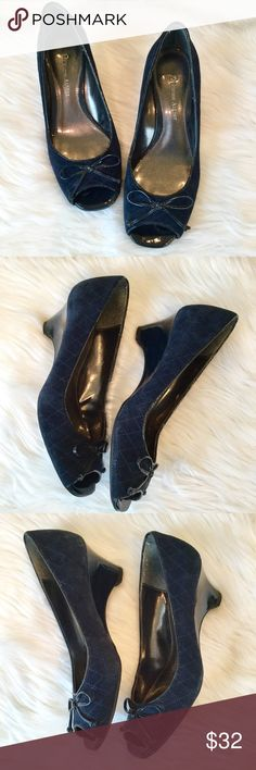 "Etienne Aigner Navy Peep Toe Wedge, 6.5, EUC Peep toe wedges in navy suede.   🔹2.25"" wedge heel 🔹Leather and manmade  🔹These shoes are in excellent preowned condition (Sandy) Etienne Aigner Shoes Wedges"