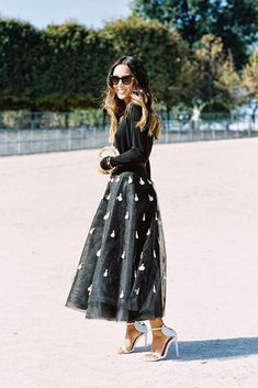 Newest Style Applique Tulle Skirt A Line Ankle Length Long Black Tutu Skirt Custom Made Fashion Skirts Women Looks Street Style, Looks Style, My Style, Look Fashion, Fashion Beauty, Womens Fashion, Fashion Trends, Paris Fashion, Look Chic