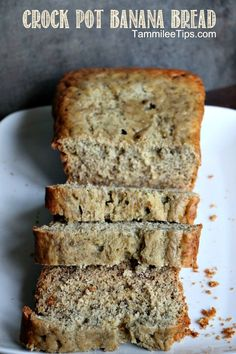Crock Pot Banana Bread! Don't worry about heating up the house with the oven. Use the crock pot to make this amazing banana bread!