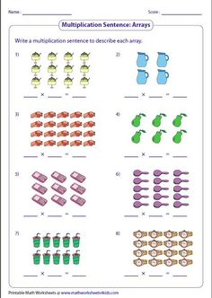 Variety of worksheets based on multiplication models such as equal groups, rectangular arrays, area models and number lines. Array Worksheets, Free Multiplication Worksheets, 1st Grade Math Worksheets, Teaching Multiplication, Printable Math Worksheets, 2nd Grade Math, Array Multiplication, Array Math, 2nd Grade Activities