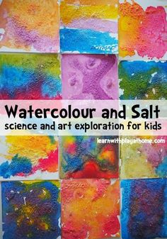and Salt. Science and Art exploration for kids Learn with Play at Home. Play based learning ideas and activities for kids. MoreLearn with Play at Home. Play based learning ideas and activ. Material Didático, Toddler Art, Science Art, Science Ideas, Science Experiments, Science Crafts, Art Classroom, Classroom Art Projects, Art Plastique