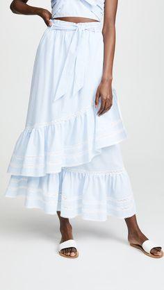 online shopping for Jonathan Simkhai Striped Cotton Skirt from top store. See new offer for Jonathan Simkhai Striped Cotton Skirt Stripe Skirt, Ruffle Skirt, Midi Skirt, Tomboy Fashion, Modest Fashion, Swimwear Cover Ups, Women's Swimwear, Swimsuits, Striped Swimsuit