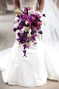 #purple #wedding #bouquet. Callas and orchids!