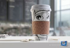 Don't coffee block your smile Trident By: JWT, NY Creative Advertising, Print Advertising, Print Ads, Advertising Agency, Funny Commercials, Funny Ads, Identity, Coffee Sleeve, Commercial Ads