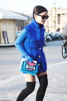 Mira's neoprene electric blue thigh-high combo. genius. Paris. #MiroslavaDuma