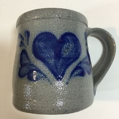 ROWE POTTERY WORKS Salt Glazed 1994 Cambridge Signed Cobalt Blue Heart Mug #1 | eBay