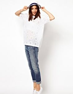 Enlarge ASOS Premium T-Shirt in Lace with Cut Out Back