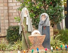 Over 20 Outdoor Nativity Scene ideas with photos.  Ideas to create a unique Manger Scene in your yard.