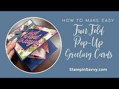 Learn how to make an EASY fun fold pop up greeting card by combining 2 simple designs into 1 & add 3 card designs to your crafty arsenal!❤️ Pop Out Cards, Pop Up Greeting Cards, Making Greeting Cards, Card Making Tutorials, Card Making Techniques, Fancy Fold Cards, Folded Cards, Sister Cards, Stamping Up Cards