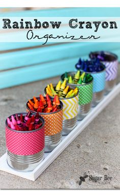 fun way to organize crayons - by color!  here's how to make one of these holders