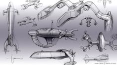 more Hydra vehicle  design sketches by Daniel Simon