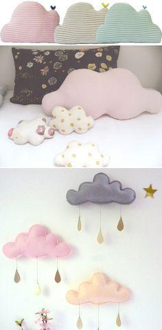 Ponerle un poco de nubes a una habitación infantil , una idea linda y fácil de llevar a cabo para una habitación infantil
