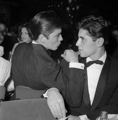 Alain Delon and Sacha Distel at the Lido, Paris, 1959