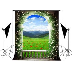Camera & Photo Allenjoy Professional Photography Background Fantasy Scenery Wooden Table Tea Pot Fence Green Meadow Flowers Backdrop Photocall New Varieties Are Introduced One After Another Consumer Electronics