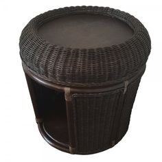 Rattan Pets Bed End Table Storage Plant Stand model Lucky with Cushion Color Dark Brown Wicker Furniture, Outdoor Furniture, Outdoor Decor, Bed End, Table Storage, Ottomans, End Tables, Rattan, Dark Brown
