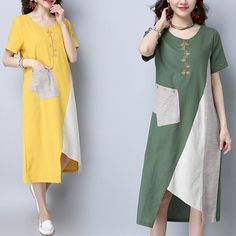 Brand: No Specification: Sleeve Length:Short Sleeve Neckline:O-neck Color:Green,Yellow Style:Vintage Dress Length:Mid-Calf Pattern:Patchwork Material:Cotton Season:Summer Package included: Vintage Style Dresses, Trendy Dresses, Simple Dresses, Women's Fashion Dresses, Boho Fashion, Casual Dresses, Vintage Fashion, Womens Fashion, Casual Shoes