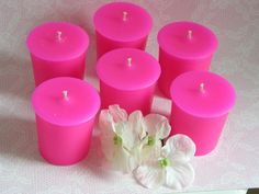 HYACINTH SCENTED Pink Wax Votive Candles 6 by SCENTSOFHUMORCANDLES, $9.99