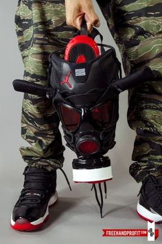"Air Jordan 11 ""Playoffs"" Gas Mask by Freehand Profit"