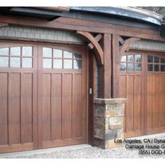 Classic & Traditional Custom Wood Carriage House Style Garage Doors - traditional - garage and shed - los angeles - Dynamic Garage Door Craftsman Exterior, Craftsman Style Homes, Craftsman Bungalows, Craftsman Decor, Craftsman Garage Door, Cedar Garage Door, Garage Exterior, Barn Garage, Dream Garage