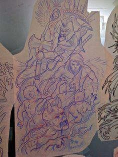 Angel Vs Demon Tattoo Half Sleeve Angels versus demons sleeve by Half Sleeve Tattoo Stencils, Half Sleeve Tattoos Forearm, Chicano Style Tattoo, Chicano Art, Dark Art Tattoo, Demon Tattoo, Snake Drawing, Graffiti Drawing, Angel Back Tattoo