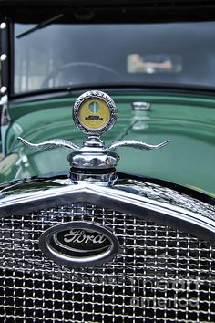 1928 MODEL A FORD - Hood Ornament & Badge..   Prints & Cards available at:  http://kaye-menner.artistwebsites.com/featured/1928-model-a-ford--hood-ornament-and-badge-kaye-menner.html  -