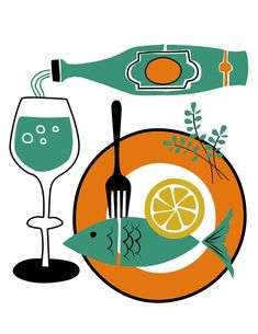 Food and Wine art prints set of four
