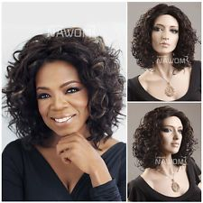 womens medium lace cut curly wig natural synthetic party black hair wigs W3820 $22.98 free shipping