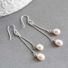 Silver Twin Pearl Cascade Earrings