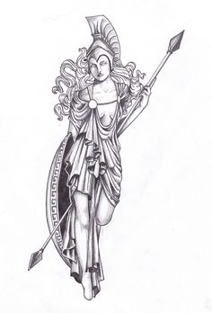 Athena statue tattoo design for a friend. - ~ I would love to have someone create something for me with elements of this