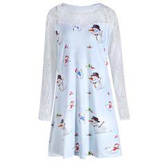 6ae15f7f29249 Charmma 2017 New Fashion Autumn Plus Size 5XL Christmas Snowman Printed  Lace Sleeve Dress Cute O