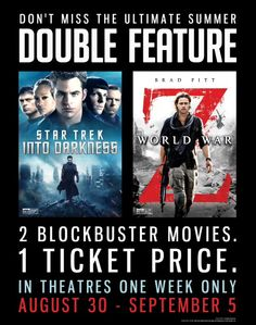 "Win free double-feature movie tickets and prize packs to the summer blockbusters ""Star Trek Into Darkness"" and ""World War Z"" courtesy of HollywoodChicago.com! Win here: http://www.hollywoodchicago.com/links/goto/22313/8188/links_weblink"