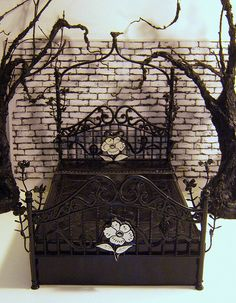 black iron bed styled like cemetery gates - idea for a real one