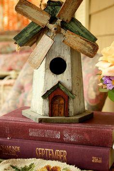 Wood windmill bird house. Adorable. Aiken House & Gardens: Autumn Porch