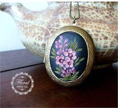 Cherry Blossom Locket Gift for Mom by VintageFloralJewel on Etsy