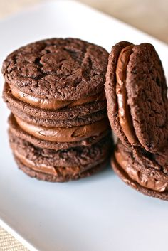 Chocolate Malt Sandwich Cookies -- try cookie in homemade oreo recipe as an alternative to cake mix version