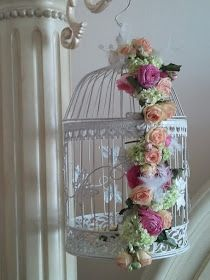 Birdcage with flower swag. Shabby Chic Patio, Shabby Chic Crafts, Flower Decorations, Wedding Decorations, Bird Cage Centerpiece, Bird Cages, Beautiful Birds, Floral Arrangements, Diy And Crafts