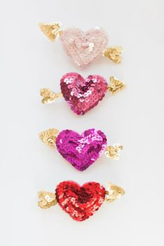 These sequined red + pink barrettes are perfect for your Valentine's Day look.
