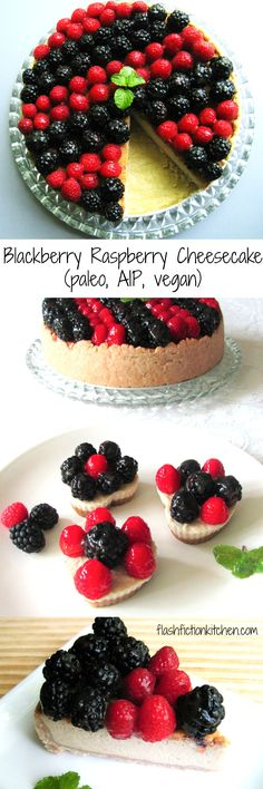 Blackberry Raspberry 'Cheese'cake from Flash Fiction Kitchen (paleo, AIP, vegan)
