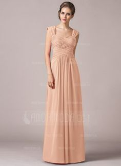 A-Line/Princess Sweetheart Floor-Length Chiffon Bridesmaid Dress With Ruffle (007063006) - AmorModa