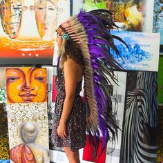 Real Purple Chief Indian Headdress 135cm, Native American Costume Hand Made Feathers War Bonnet Hat on Etsy, £81.37