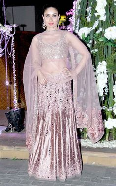 Kareena couldn't have opted for any other designer outfit since she was attending Manish's niece bash and she nailed in this striking outfit by the designer.