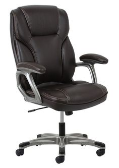 OFM Essentials High-Back Leather Executive Office/Computer Chair with Arms - Ergonomic Swivel Chair Bonded Leather, Soft Leather, Brown Leather, Executive Office Chairs, Chair Height, Contemporary Chairs, Home Office Furniture, Swivel Chair, Essentials