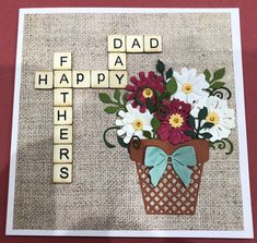 Pretty flower pot card Pretty Flowers, Flower Pots, Dads, Happy, Crafts, Home Decor, Flower Vases, Beautiful Flowers, Plant Pots