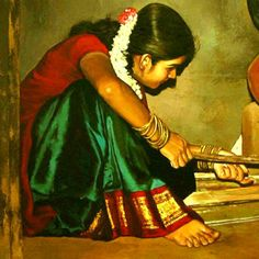 Tamilnadu woman Paintings : Elayaraja has breathed life into the faces and lives of uncaptured people. the common crowd in everday moments of life. Exquisite innocent expresions with delicate play of