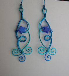 Blue star wire earrings