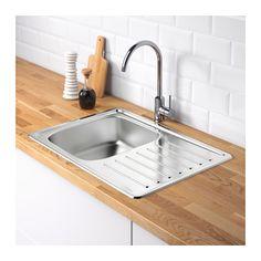 FYNDIG Single bowl top mount sink, stainless steel