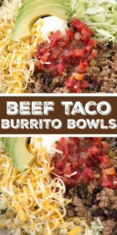 Beef Taco Burrito Bowls | Mexican Food | Dinner Recipe | Burrito Bowls | Beef taco burrito bowls are so easy to make at home! Seasoned beef taco meat with black beans, layered with rice, and all the taco toppings you want. Everyone can make their own for a fun, quick & easy, and delicious dinner. #dinnerrecipes #recipeoftheday #mexicanfood #burritobowls #groundbeef Beef Dishes, Food Dishes, Main Dishes, Ground Beef Recipes For Dinner, Meals To Make With Ground Beef, Ground Beef Tacos, Ground Beef Rice, Ground Meat, Cooking Recipes
