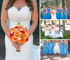 She originally wanted a blue and pink wedding, and changed it to orange to incorporate her grooms favorite color! [cue in: awww!!] :)